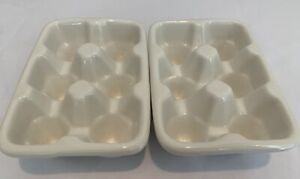 Set of TWO-  6 Egg Crate Cartons Holder Dish Off White Ceramic Heavy