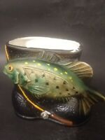 Vintage Inarco Japan Planter Black Fisherman's Boot & Bass Fish