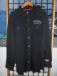 NOS Harley Davidson Mens Engine Patch Performance Black Knit Shirt 96629-14VM