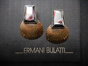 NEW Signed Ermani Bulatti Bronze Plated Fan Shaped CLIP Earrings w/Hematite