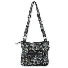 Laurel Burch CATS Quilted Cotton Crossbody Purse Black White Blue Polka Dots NEW