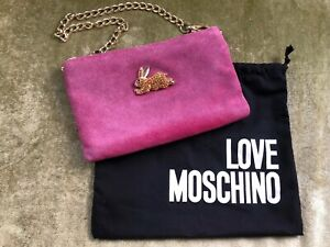 Love Moschino Embellished Suede Shoulder Bag/Clutch, Pink, Crystal Bunny Rabbit