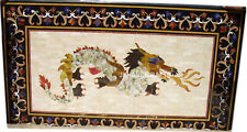 """30""""x60"""" Exclusive Marble Dining Table Top Dragon Art Marquetry Beautiful Decor"""