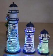 1pcs Iron Craft Lighthouse 19cm Height LED illuminate Home Decor Desk Cute gift