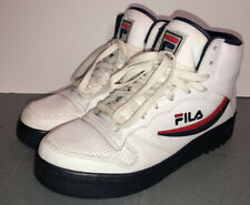 Vintage FILA Classic White Leather High Top Basketball Shoes 90s Men's Size 10