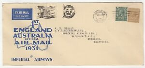 1931 Apr 3rd. First Flight Cover. England to Brisbane. Imperial Airways.