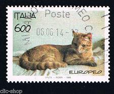 ITALIA 1 FRANCOBOLLO ANIMALI GATTO RAZZA EUROPEA 1993 usato