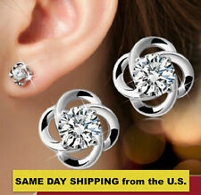 925 Sterling Silver Made With Swarovski Element Stud Earrings AA