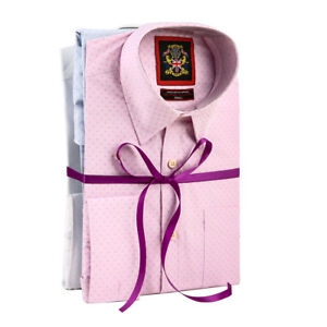 Double Cuff Tailored Mens Shirts, 3 Three Pack & Metal Cufflinks, Pink,White,Sky