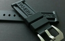 24MM Black Rubber Strap For Panerai Officine Luminor Band Replacement w/Buckle