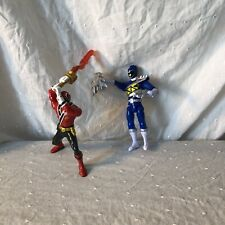 Lot Of 2 Power Rangers Figures Blue And Red Lever Action