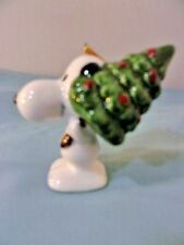 VINTAGE SNOOPY CERAMIC CHRISTMAS ORNAMENT -- Snoopy With Christmas Tree
