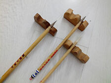 3 CHINESE GOAT WOLF HAIR CALLIGRAPHY PAINTING BRUSH JAPANESE 3 WOODEN STAND REST