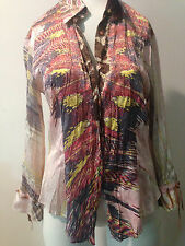 Preowned Roberto Cavalli Made in ITaly White Top Blouse Shirt  Sz xs , SILK!! MB