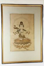 Antique Hand Painted Silk Chinese Art Ink Watercolor Kwan QUAN YIN Goddess Mercy