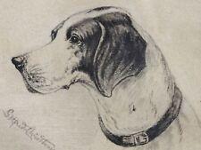 Godfred B.W. CHRISTENSEN (1845-1928) - Kohlezeichnung 1907: HUNDEKOPF evt Beagle