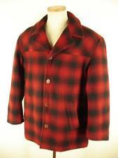 mens M J. CREW Red Black Buffalo Check Plaid Wool Pea Coat Jacket Hunting Winter