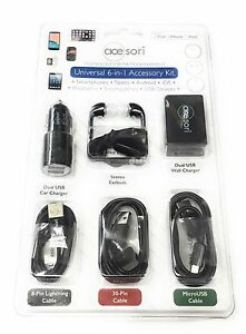 NEW Acesori Universal 6-in-1 Accessory Kit Black For Smart Phones, Tablets, Etc.