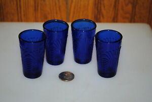Vtg Mosser Lindsey Colbalt Blue Tumbler Glasses - 4  Mini Toy Childs Swirls