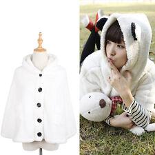 Damen Mädchen Winter Mantel Umhang Kapuze Hoodie Cape Cloak Jacke Panda Ohren