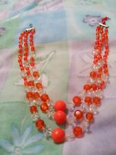 Plastic Three Strand Necklace Tangerine And Clear Colour Beads