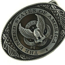 Belt Buckle U.S.A. American Flag Soaring Eagle Buckles for Mens Leather Belt