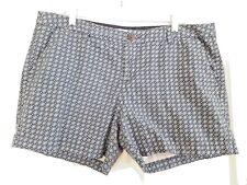 Women's Shorts 14 Large Chevron Print Blue Green Casual Walking Pockets