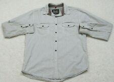 Drill White & Gray Dress Shirt Size Large Men's Striped Top Long Sleeve 2 Pocket
