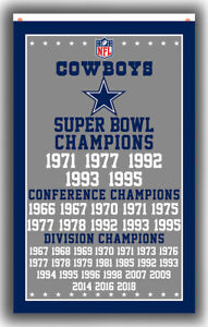 Dallas Cowboys Football Team Champion Flag 90x150cm 3x5ft Memorable Best banner