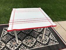Enamel Kitchen Farm Table Red Stencil Expandable Porcelain Top Wood Leg Vintage