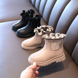 Flower Girls Boots Toddler Infant Kids Princess Party Leather Dance Shoes Size