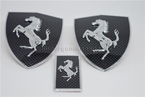 Ferrari Carbon Fiber Fender Shield & Front Bonnect badge Emblem Kit New