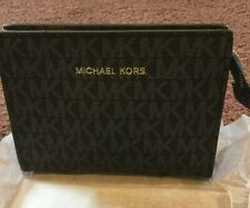 MICHAEL KORS  blue mk logo cosmetic bag makeup pouch clutch travel case NEW
