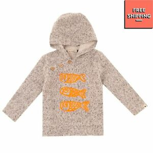 BILLYBANDIT Felted Hoodie Size 9M Embroidered Fish Long Sleeve