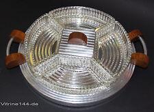 Art Deco cabaret cabaret Servier bandeja, vidrio 5 cáscaras espejo bandeja pinzamientos de madera
