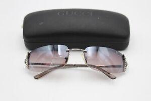 Vintage Gucci Diamanté Detail Smokey Tint Rimless Designer Sunglasses & Case