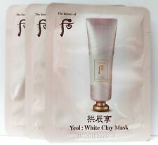 10pcs x The History of WHOO Gongjinhyang Yeol White Clay Mask, Wash Off Pack New