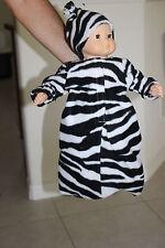 "Zebra black white stripe  Fleece Bunting hat fits 15"" Bitty Baby  FREE SHIPPING"