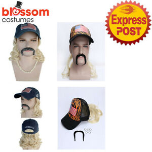 N341 Tiger King Joe Exotic Hat Cap with Mullet Costume Wig Moustache Earrings