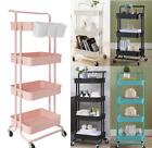 3-4Tier Rolling Utility Cart Mobile Storage Organizer Trolley Cart Shelf Kitchen