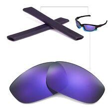New Walleva Polarized Purple Lenses And Black Rubber Kit For Oakley Split Jacket