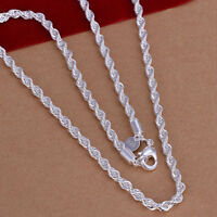 "925 Sterling Silver Women's Rope Chain 30"" Link Necklace +Free Velvet D184"