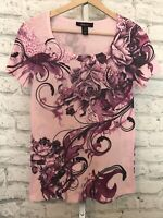 Style & Co. Women's Embellished Rhinestones Floral Tunic Top Pink  Size S