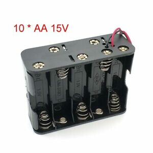 New 10 Aa 2A Battery 15V Clip Holder Box Case Storage With Wire Leads Black