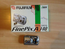 FUJIFILM FinePix A340 Digital Camera Silver FOR PARTS Box 4MP x3 Optical Zoom