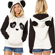 Women Pullover Hoodies Blouse Panda Pocket Hooded Sweatshirt Outwear Coat Tops