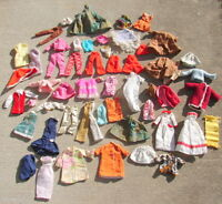 Vintage Barbie Clothes Outfits Lot of 50+ Skirts Dresses Pants Shirts Tops
