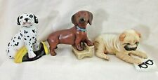 3 Franklin Mint Porcelain Dog Figurines - Dachshund, Dalmatian, Shar-Pei, 1987