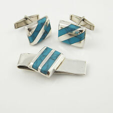 Old Pawn Turquoise Tie Clip Clasp Bar Cuff Links Cufflinks Set Wedding Silver