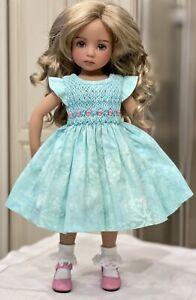 """Boneka Mint Smocked dress for 13"""" Dianna Effner Little Darling doll"""